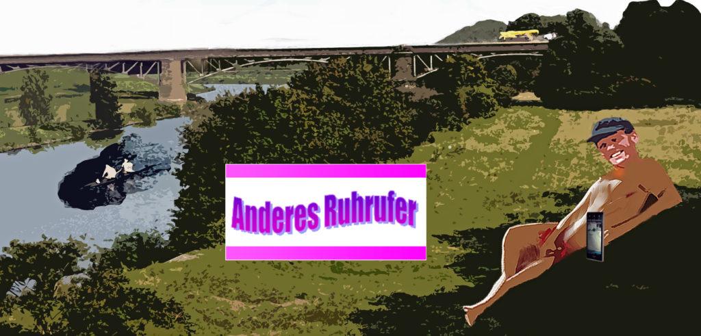 Nackter Mann am Ruhrufer; in der Mitte das Logo des Portals