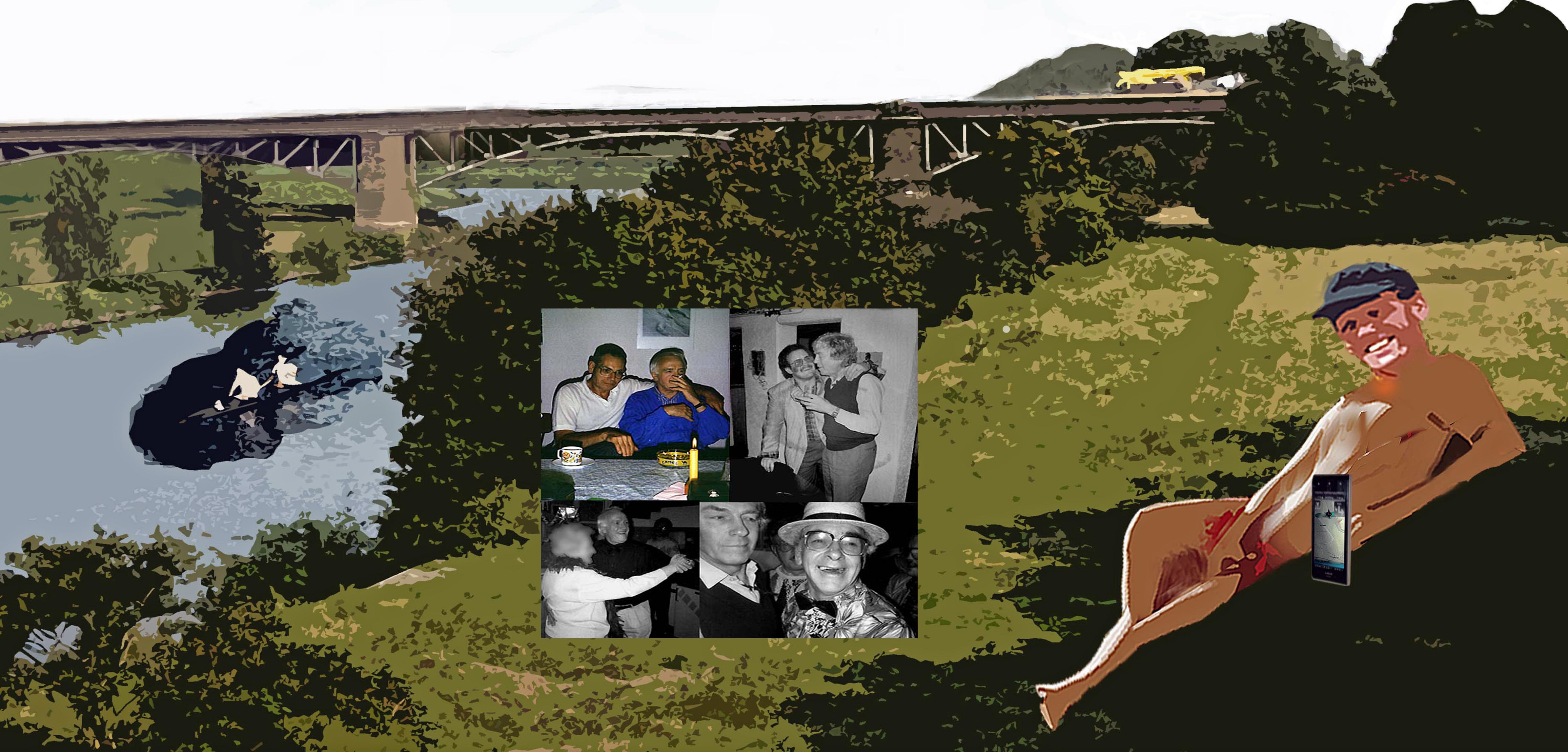 Nackter Mann am Ruhrufer mit Bildern von früher in der Mitte