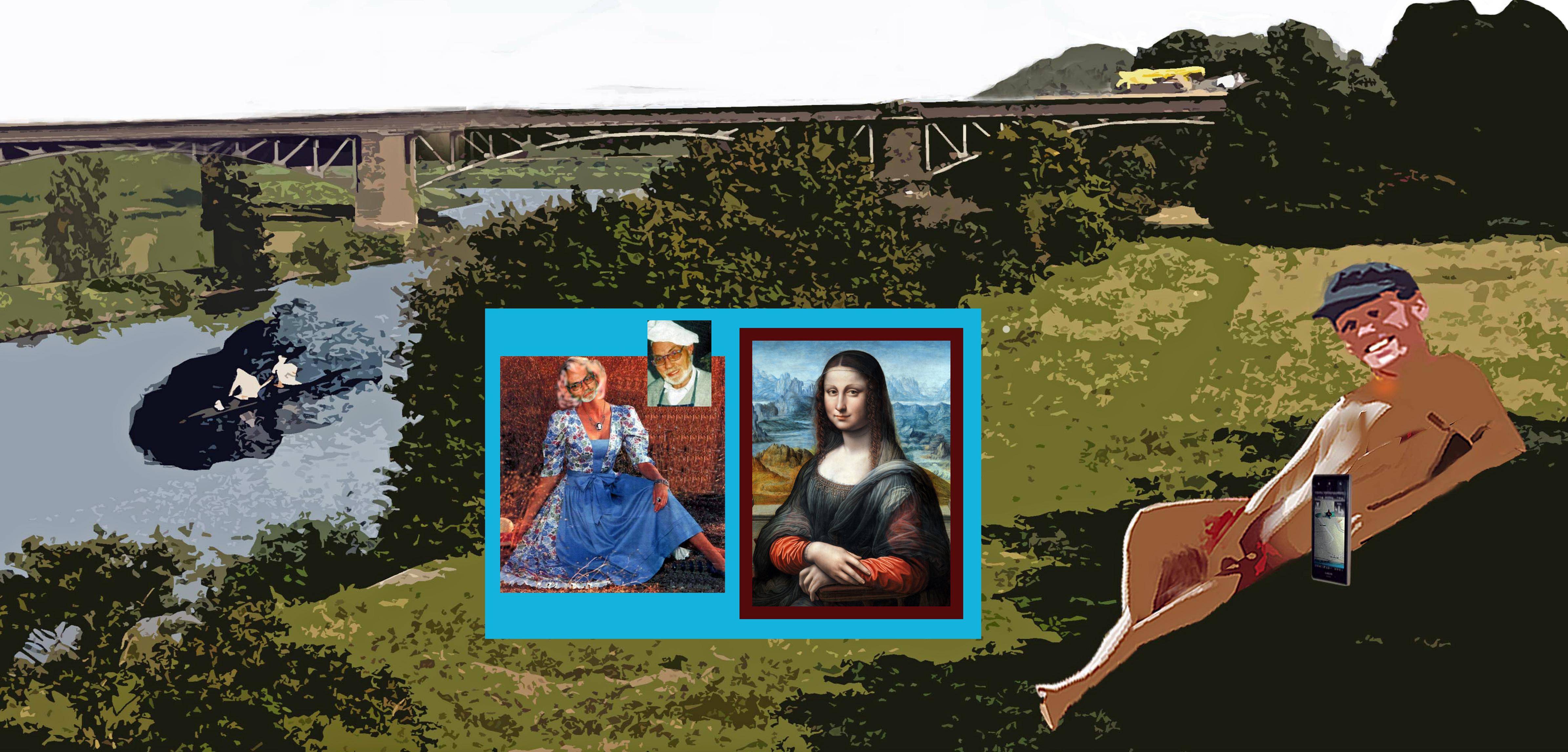 Nackter Mann am Ruhrufer mit lustigen Bildern in der Mitte