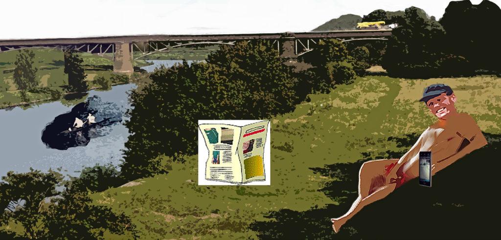 Nackter Mann am Ruhrufer; in der Mitte eine Zeitung