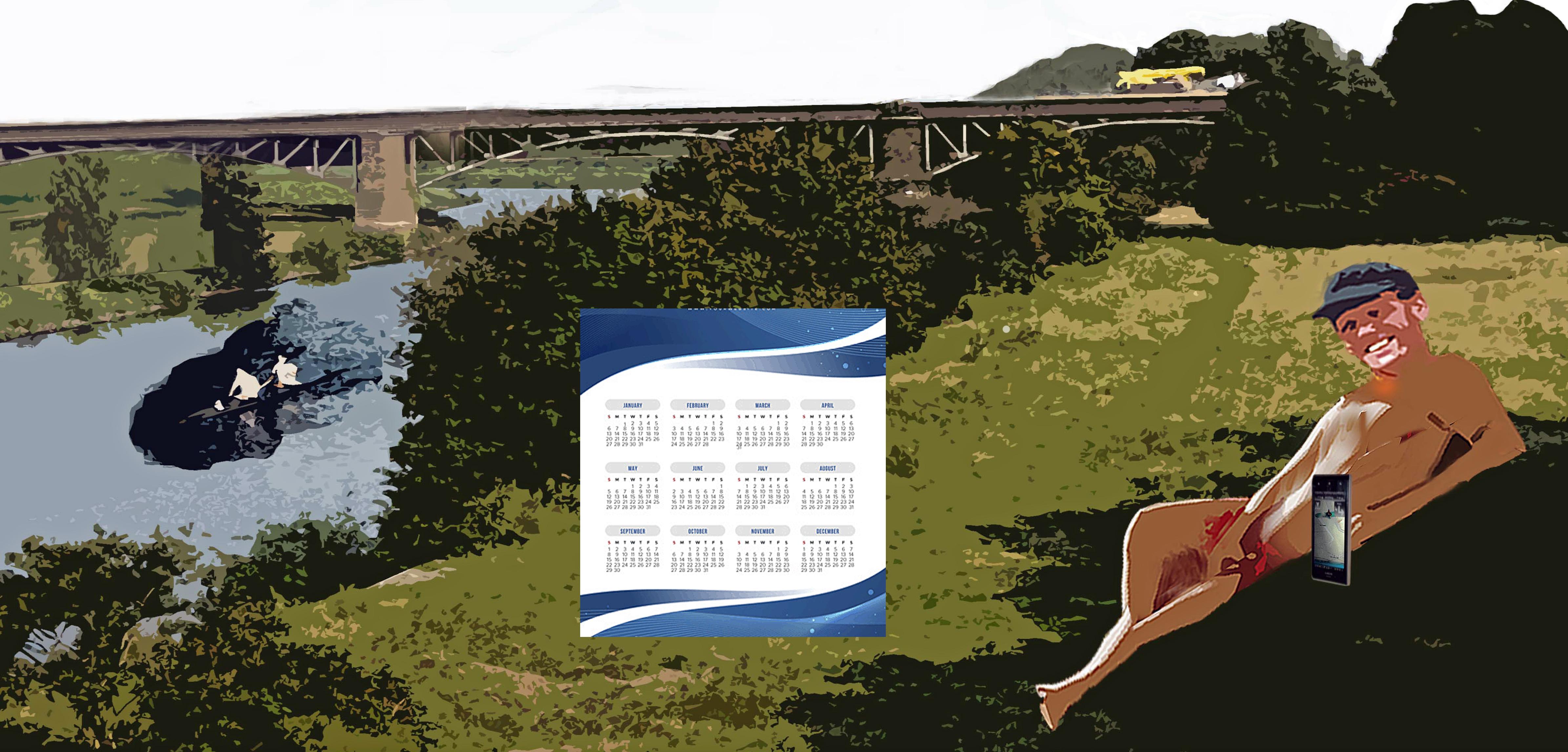 Nackter Mann am Ruhrufer; in der Mitte Kalender