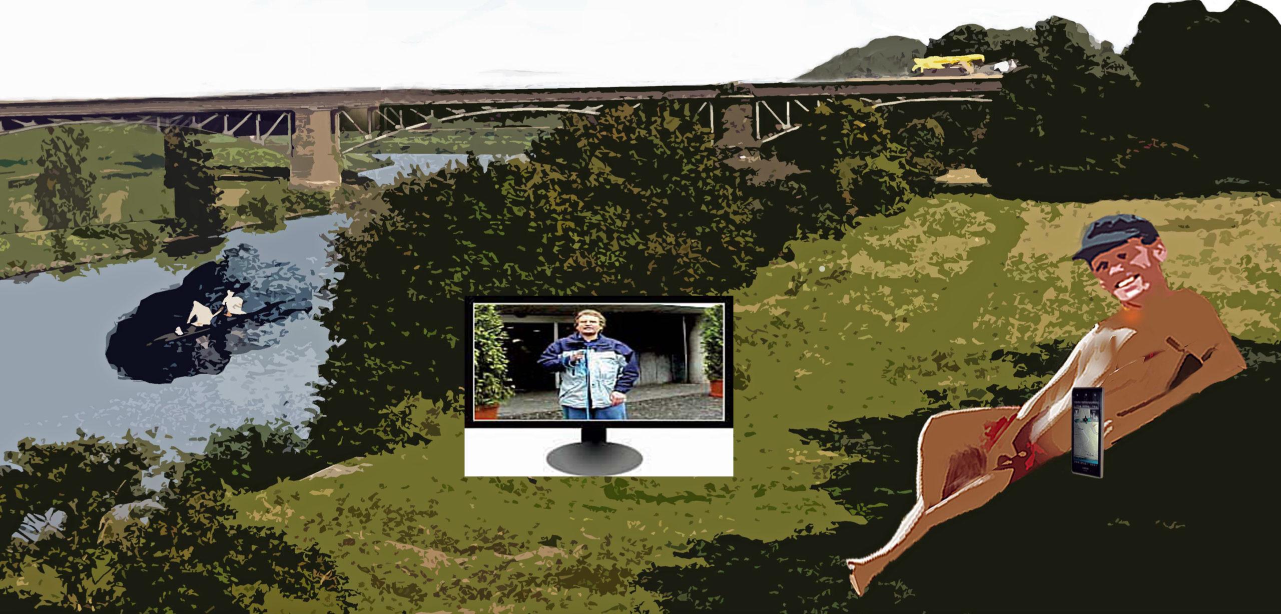 Nackter Mann am Fluss mit Zeichnung Fernseher