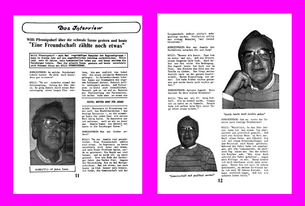 Interview schwule Szene 1960er-Jahre, S. 1