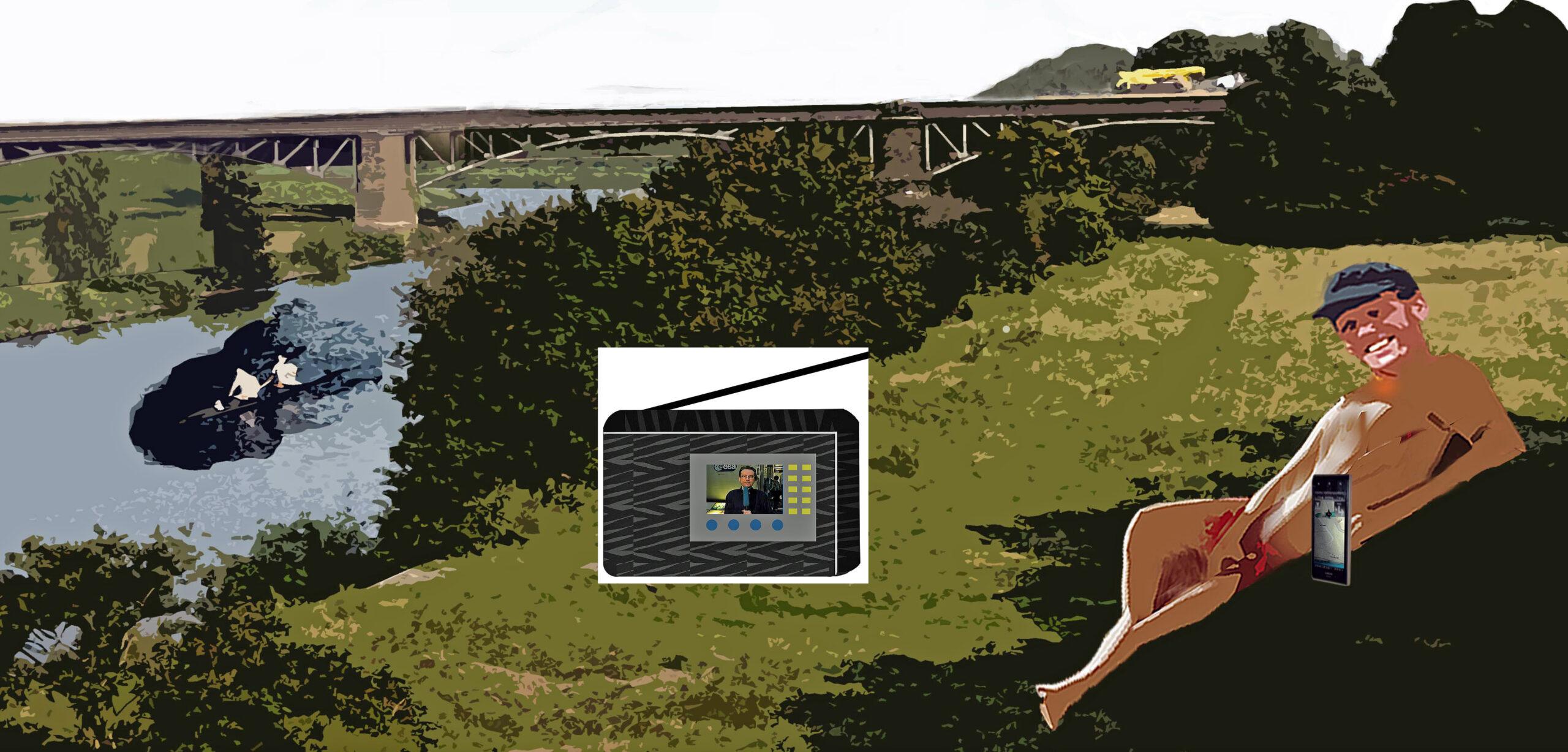 Nackter Mann am Fluss mit Zeichnung Radio