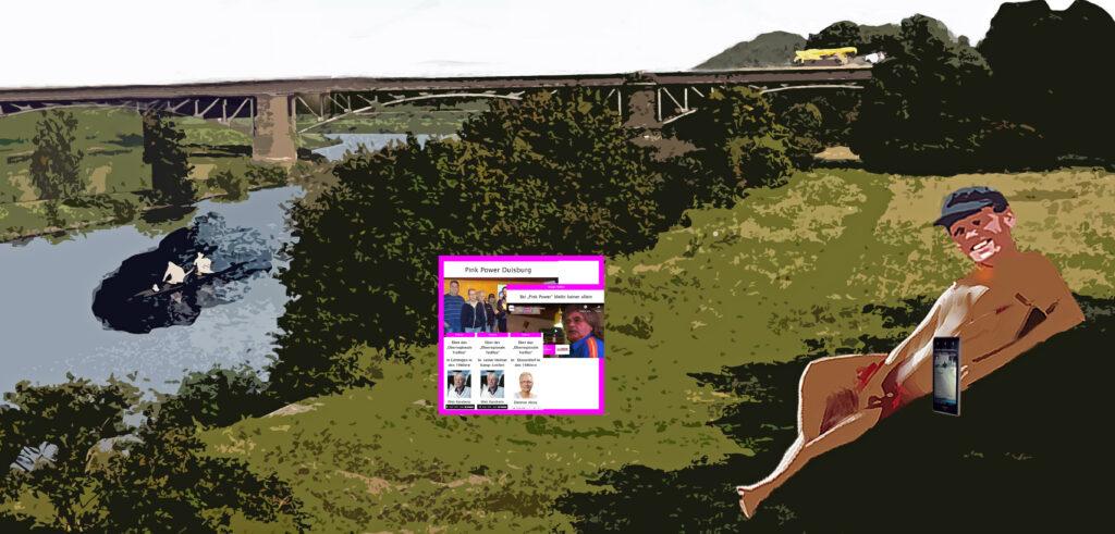Nacktear Mann am Fluss mit Grafik